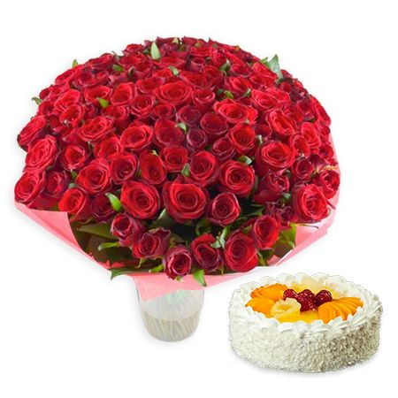 Bouquet 101 red roses + cake as a gift