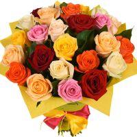 Bouquet 25 різнокольорових троянд