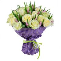 Buy a bouquet of white roses and tender pink tulips