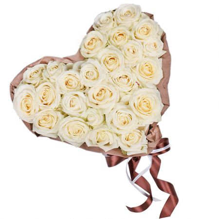 Bouquet Heart of white roses