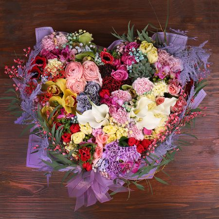 Bouquet Heart of mixed flowers