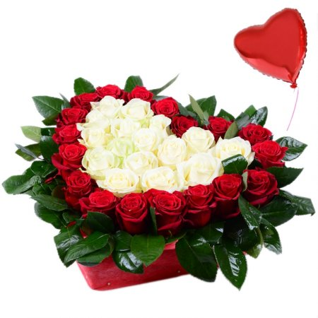 Bouquet Heart with roses + balloon